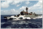 A South Korea Navy patrol-combat corvette sailing through rough seas.  (Photo from ROKN website)